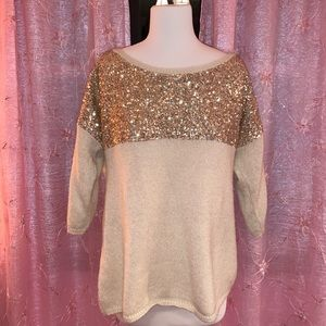 Gold and Cream Sparkle Sweater